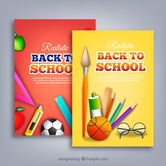 Set di ritorno a carte scolastiche con strumenti