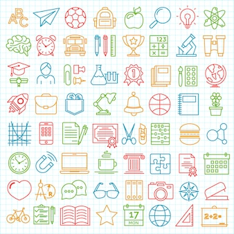 Set of back to school and education modern thin line icons