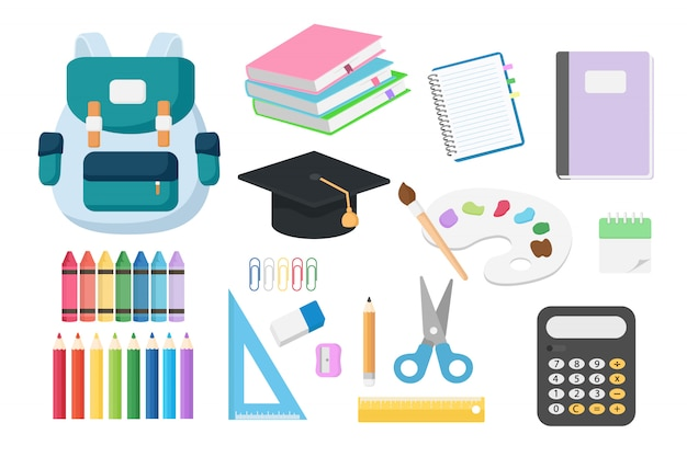 Set of back to school objects isolated