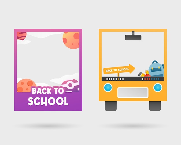 Set of back to school photo booth frame photo booth props template