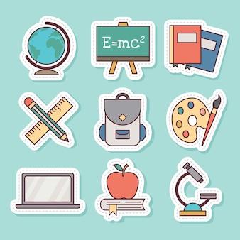 Set of back to school stationary sticker vector illustration on soft tosca background