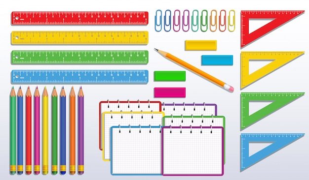 Set of back to school supplies with realistic colorful spiral notebook or notepad, color pencils, triangle measure ruler, paper clips and rubber erasers
