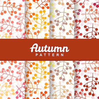 Set background of autumn branch berry fruit seamless pattern