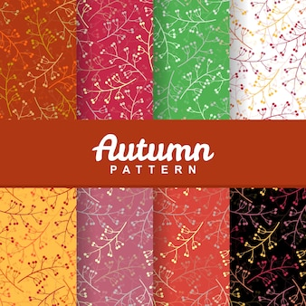 Set background of autumn branch leaf seamless pattern