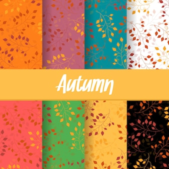 Set background of autumn fall branch leaves seamless pattern