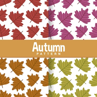Set background of autumn fall palm leaves seamless pattern