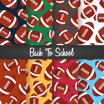 Set background of back to school rugby ball pattern wallpaper illustration