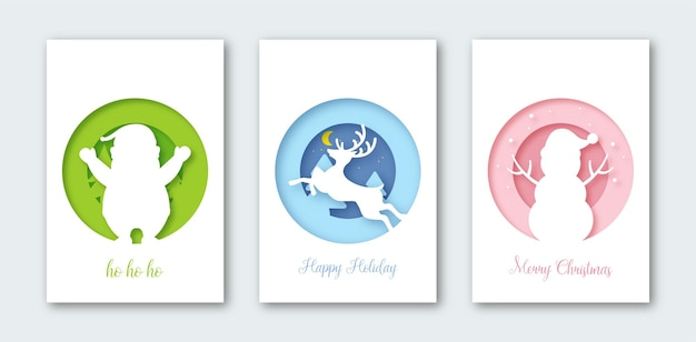 Set background for greetings card, covers, banner, flyers, posters. christmas postcard composition in paper cut style