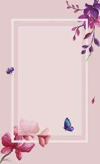 水彩の四角い枠の装飾フレームに分離された野生の春紫の花の背景イラストを設定します。