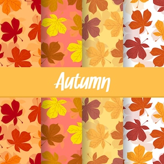 Set background of autumn fall leaves exotic seamless pattern