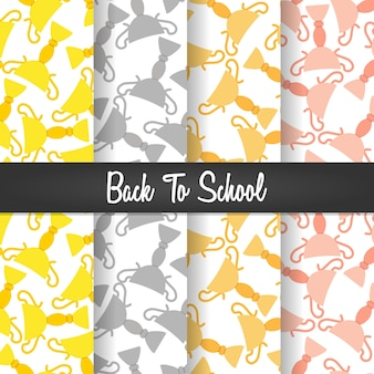 Set background of back to school trophy seamless pattern