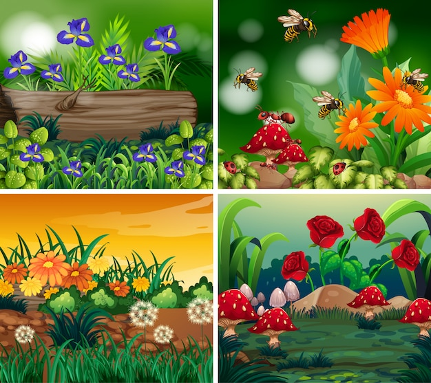 Set of background scene with nature theme