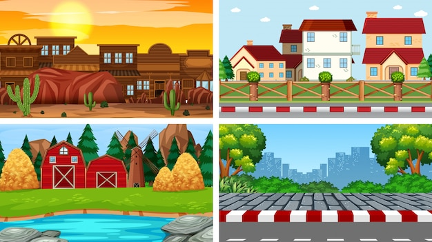 Set of background scenes background