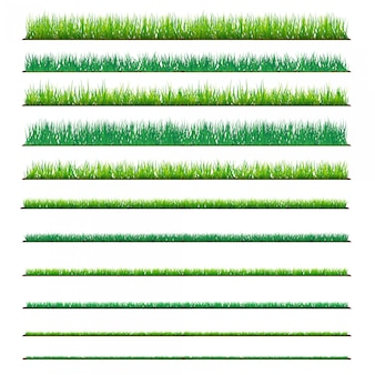 Set of backgrounds of green grass, isolated on white background.