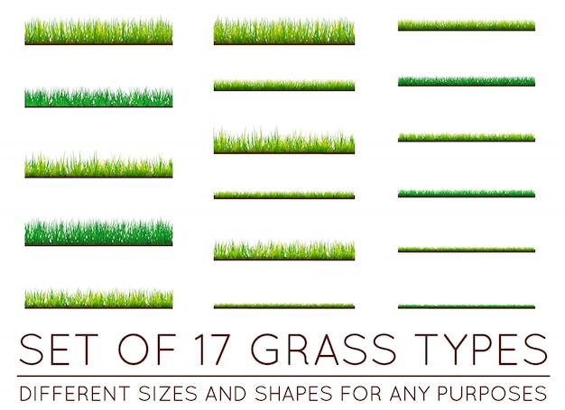 Set of backgrounds of green grass