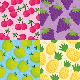 Set backgrounds of tropical fruits