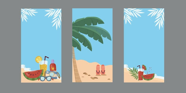 A set of backgrounds with the beach and the sea