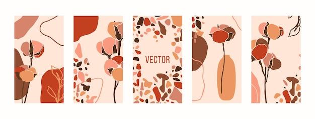 목화 꽃과 테라초 모자이크로 배경을 설정합니다. 소셜 미디어 스토리를 위한 최소한의 현대적인 콜라주 스타일 템플릿의 추상 모바일 배경 화면. 파스텔 핑크 색상의 벡터 일러스트 레이 션