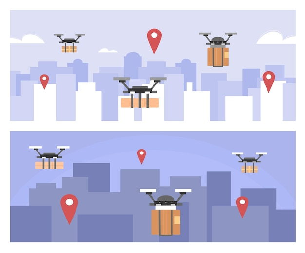 Set of backgrounds with delivery drone copters cartoon vector illustration
