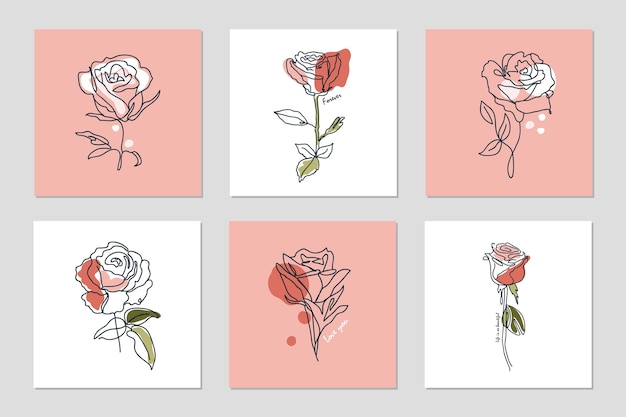 Set of backgrounds with one line continuous roses and phrases abstract collage with geometric shapes