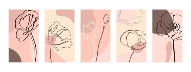 한 줄의 양귀비 꽃으로 배경을 설정합니다. 소셜 미디어 스토리를 위한 최소한의 트렌디한 스타일 템플릿의 추상 모바일 배경 화면. 파스텔 컬러 핑크에서 벡터 일러스트 레이 션