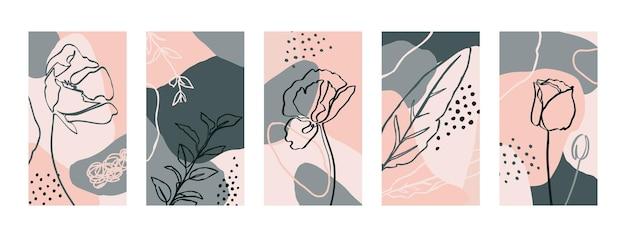 양귀비 꽃과 식물 요소로 배경을 설정합니다. 소셜 미디어 스토리를 위한 최소한의 트렌디한 스타일 템플릿의 추상 모바일 배경 화면. 파스텔 컬러 핑크, 그린 벡터 일러스트 레이 션