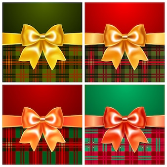 Set backgrounds with satin ribbon bow, 10eps. perfect as invitation or congratulation.