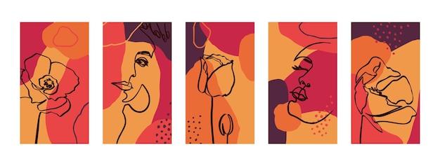 여성 초상화와 양귀비 꽃으로 배경을 설정합니다. 소셜 미디어 스토리를 위한 미니멀한 최신 유행 스타일 템플릿의 추상 모바일 배경 화면. 밝은 색상 핑크, 오렌지, 레드의 벡터 일러스트 레이 션