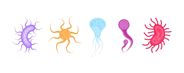 Set of bacterium and germs icon of microorganisms bacteria and microbe organism allergen vector
