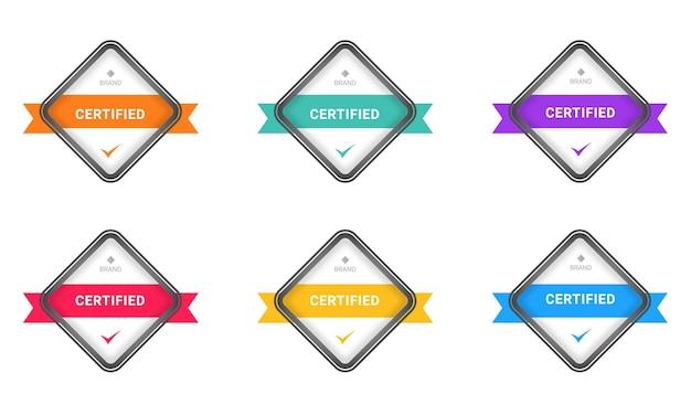 Set of badge certified