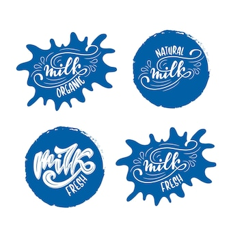 Set of badge designs with milk lettering. vector illustration.