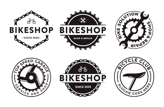 Set of  badge emblem bicycle shop bike club logo icon with gear crank and mechanic tool concept