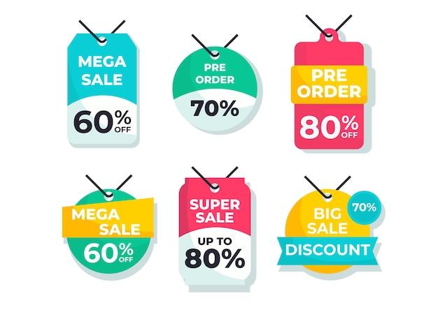 Set di badge o logo, etichetta, raccolta di elementi di design, illustrazione