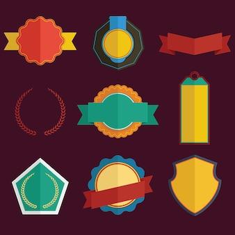 Set of badge and ribbon
