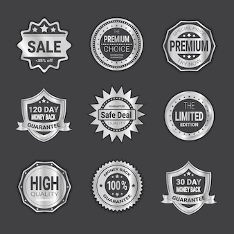 Set of badge shopping sale or high quality shields emblem isolated