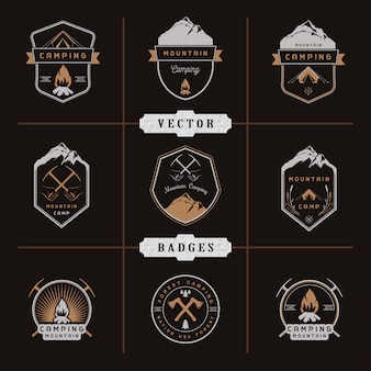 Set of  badges camping and hiking