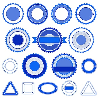 Set of badges, labels and stickers without text. in blue color.