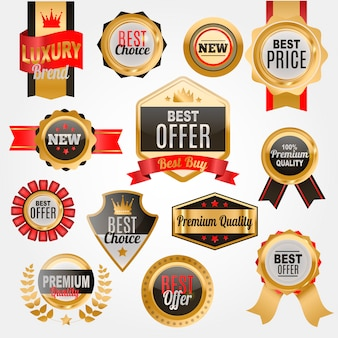 Set of badges or medals for shop. premium quality. best price label.
