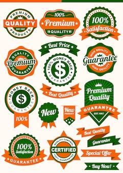 Set of badges and ribbon