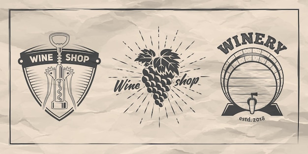 Set of badges for wine shop or winery