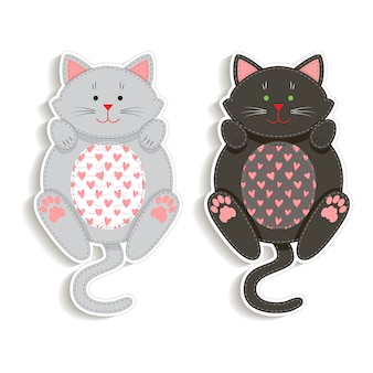 Set of badges with applique cute cats.