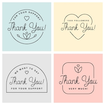 Set of badges with thank you graphics and design elements vector labels and logo for gratitude, branding, advertisement.