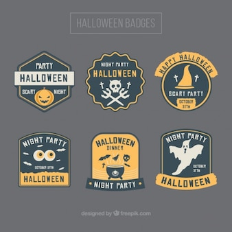 Set of badges with yellow details for halloween
