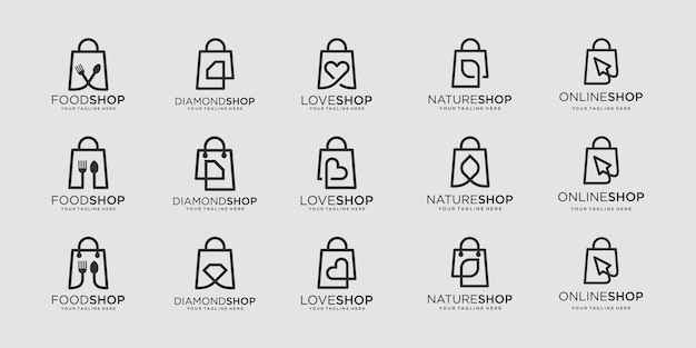 Set of bag logo designs template. illustration food, diamond, love, leaf, cursor combined with element bag shop sign.