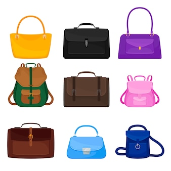 Set of bags and backpacks of different shapes and colors