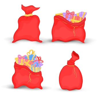 Set bags santa claus is filled with bright gifts with bows for kids