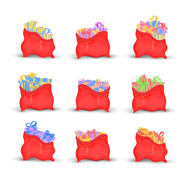 Set bags santa claus is filled with bright gifts