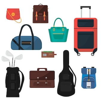 Set of bags. suitcase on wheels, woman's handbags, guitar case, golf bag, schooler backpack, man's briefcase, wallet. colorful accessories.
