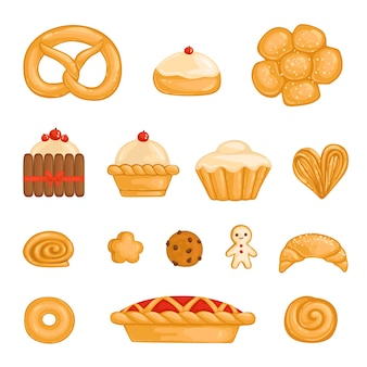 A set of baked goods bagel, bread, cake, cupcake, roll, biscuit, chocolate chip cookie, gingerbread man, kurasan, donut, pie cheesecake isolated