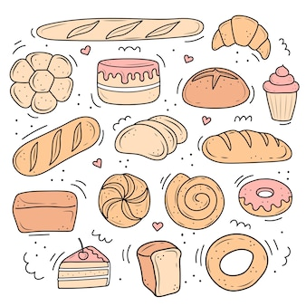 A set of baked pastries illustrations
